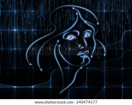 Human Geometry series. Backdrop design of lines of human face, fractal elements and symbols to provide supporting composition for works on science, philosophy, metaphysics and modern technology
