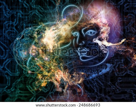 Human Geometry series. Composition of lines of human face, fractal elements and symbols on the subject of science, philosophy, metaphysics and modern technology
