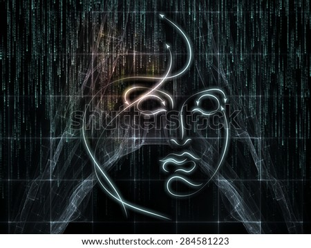 Human Geometry series. Composition of  lines of human face, fractal elements and symbols to serve as a supporting backdrop for projects on science, philosophy, metaphysics and modern technology