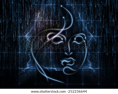 Human Geometry series. Design made of lines of human face, fractal elements and symbols to serve as backdrop for projects related to science, philosophy, metaphysics and modern technology