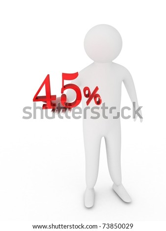 Human giving fourty five red percentage symbol isolated on white background