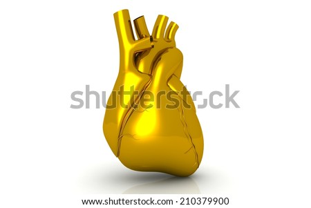 Human golden heart on white background - stock photo