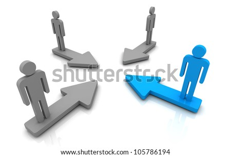 Human Group Purpose arrow 3D render on white background
