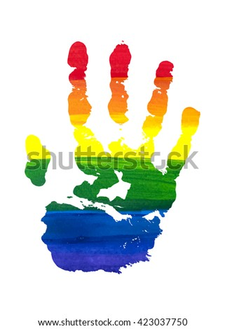 Human grunge rainbow gouache handprint with skin texture isolated on white background. LGBT watercolor sticker. The right palm. Raster copy of vector file.
