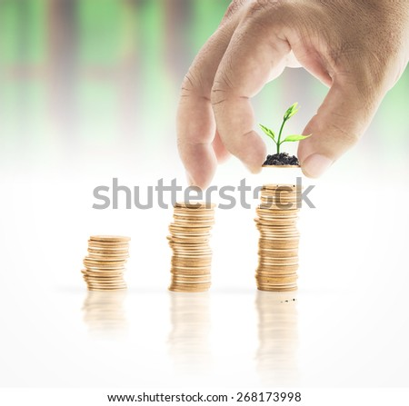 Human hand adding a golden coin with young plant in the final row over blurred lot board background. Money coin concept. - stock photo