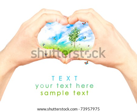 Human hand and nature. Symbol of the environment. Collage. - stock photo