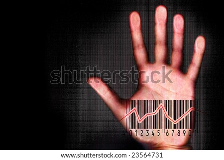 Human hand beeing scanned with barcode halogram  - futuristic and security concept - stock photo