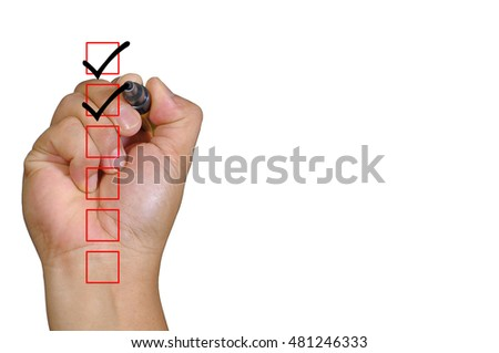 Human hand check two box with black mark and copy space area isolated on white