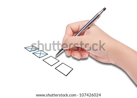 Human hand checklist - stock photo