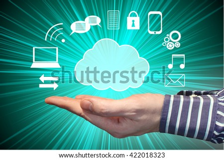 Human hand, cloud shape and computer icons - great for topics like social networking, Internet, network etc.
