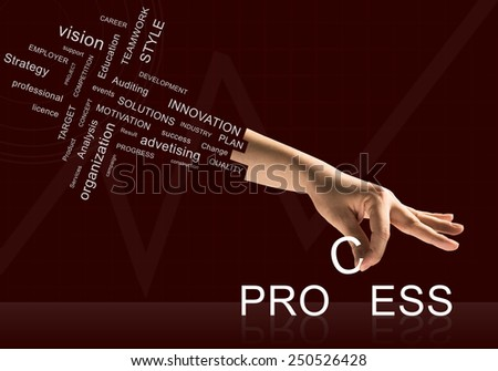 Human hand connecting letters of word process - stock photo