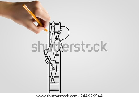 Human hand drawing caricature of man climbing ladder - stock photo