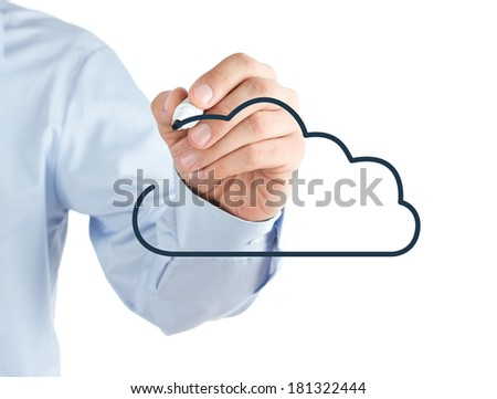 Human hand drawing cloud symbol on a whiteboard, isolated on white background - stock photo