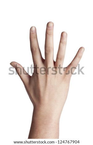 Human hand gesturing number five over a white background
