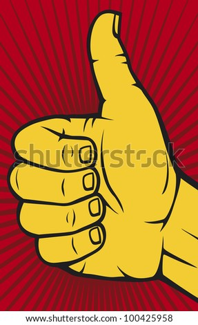 Human hand giving ok (Vector hand showing thumbs up) - stock photo