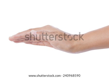human hand held up. Isolated on white background  - stock photo