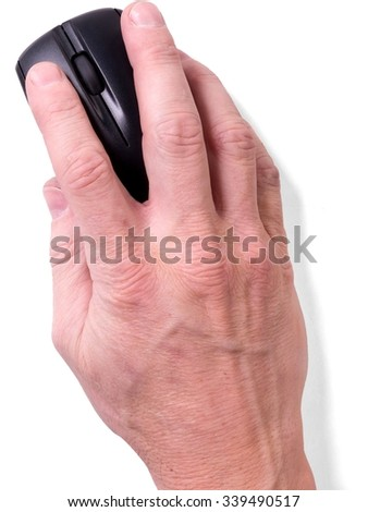 Human Hand Holding a Computer Mouse - Isolated