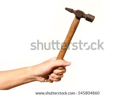 Human hand holding a hammer lifted up  isolated on white background