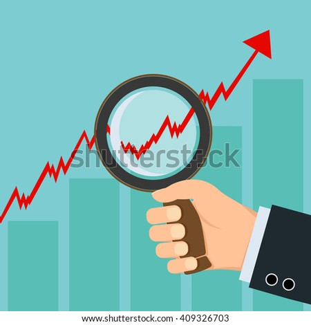 Human hand holding a magnifying glass in front of financial graph. Stock illustration.