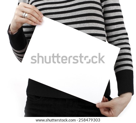Human hand holding a piece of paper.