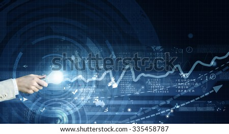 Human hand holding a shining electric bulb on digital background