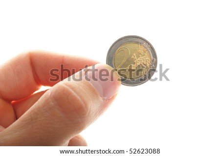 human hand holding an euro coin, isolated on white background