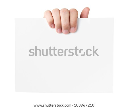Human hand holding blank advertising card isolated on white back - stock photo