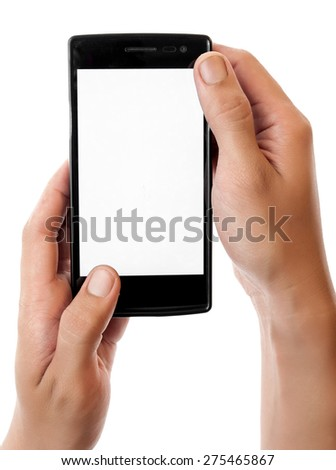 Human hand holding blank mobile smart phone isolated on white background