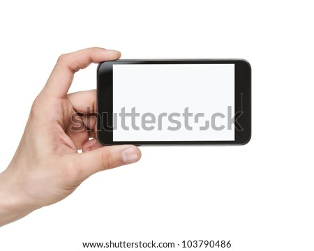 Human hand holding blank mobile smart phone isolated on white background with clipping path for the screen