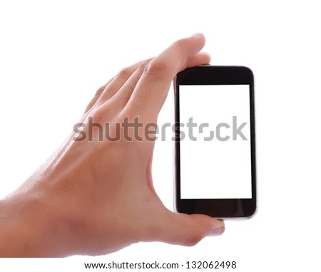 Human hand holding blank mobile smart phone over white background