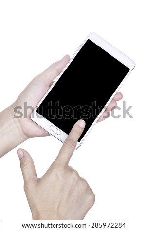 Human hand holding blank mobile smart phone with clipping path for the screen - stock photo