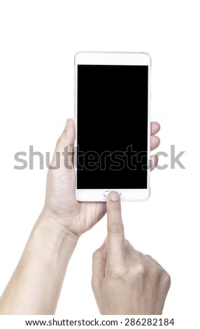 Human hand holding blank mobile smart phone with clipping path for the screen. - stock photo