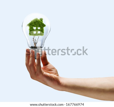 Human hand holding bulb with plant shaped like house - stock photo