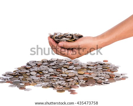human hand holding currency metal coin, isolated on white background - stock photo