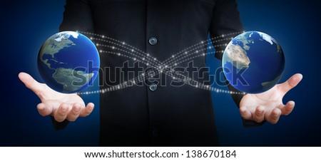 human hand holding earth, earth globe image provided by NASA - stock photo