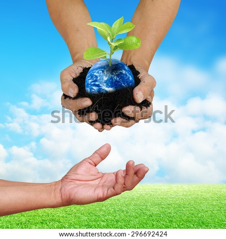 Human hand holding global in soil with little green tree give for below hand for think earth concept Elements of this image furnished by NASA - stock photo