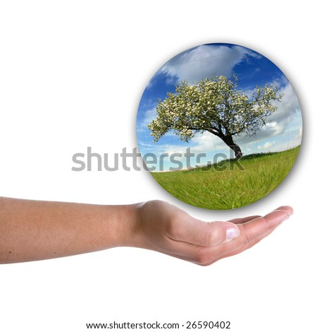 human hand holding landscape inside a bubble isolated on white background - stock photo