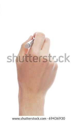 human hand holding pen isolated on white background - stock photo