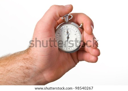 Human hand holding stop-watch - isolated on white background