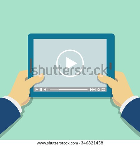 Human hand holds tablet computer with video player.  Media screen. illustration