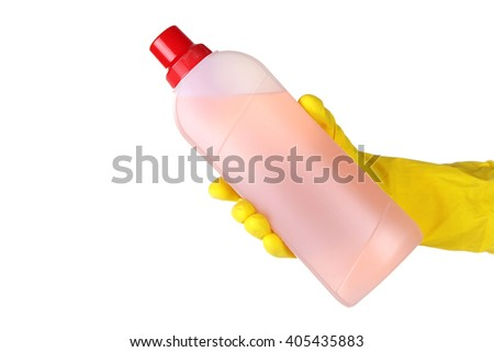 human hand in glove holding a bottle of cleaning detergent on a white isolated background