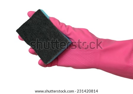 Human hand in glove holding sponge, isolated on white - stock photo