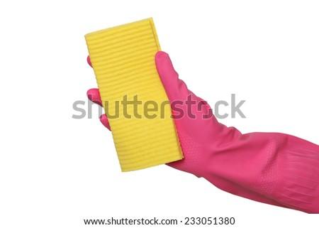 Human hand in glove holding sponge rag, dishrag isolated on white - stock photo