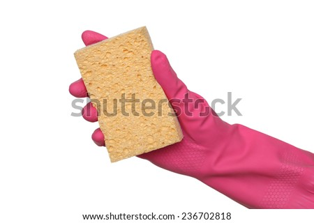 Human hand in glove squeeze sponge, isolated on white - stock photo