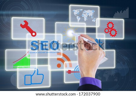 Human hand is touching modern button on the virtual screen - stock photo