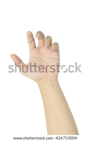 human hand isolated on white - stock photo