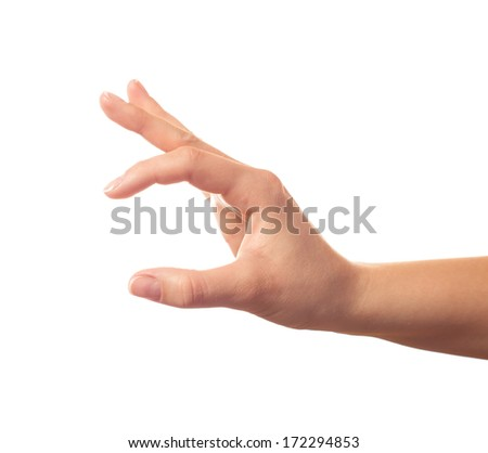 Human hand keeping something with two fingers