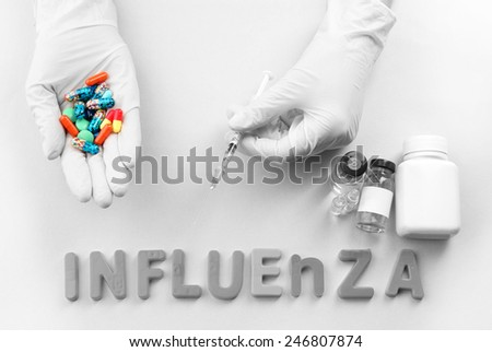 Human hand of pills Medicines with word Influenza on light background - stock photo