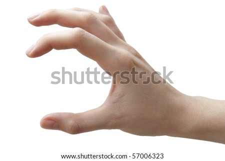 Human hand open on the white background - stock photo