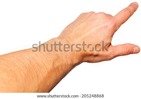 Human hand pointing isolated against white background